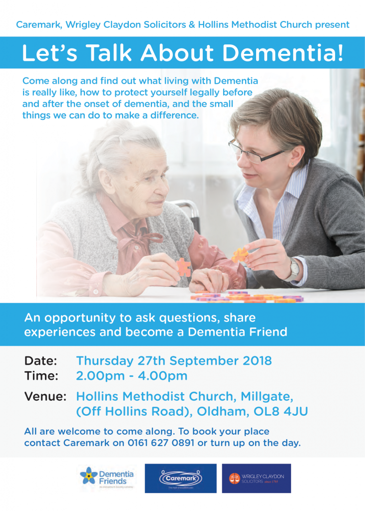 Lets Talk About Dementia event with Wriglgy Claydon Solicitors