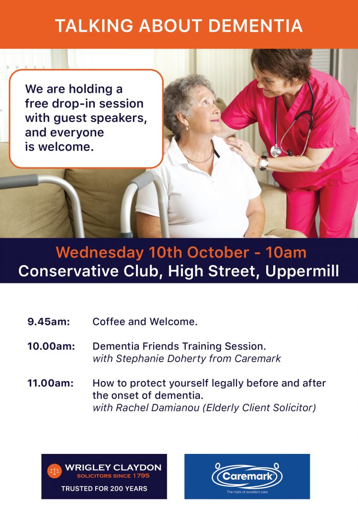 Talking About Dementia Event with Wrigley Claydon Solicitors