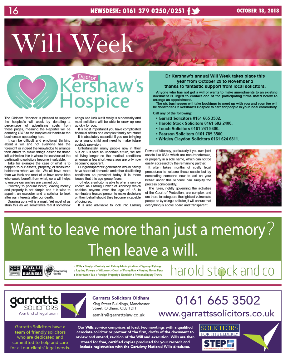 Dr Kershaw's Hospice Will Week